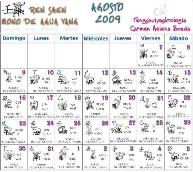 Calendario Chino Agosto 2009